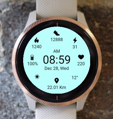 Garmin Watch Face - Aqua Weather