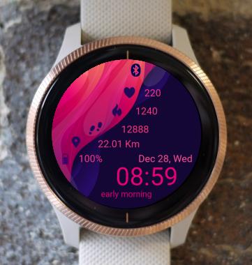 Garmin Watch Face - Pink Waves