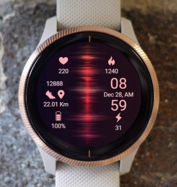 Garmin Watch Face - Red Cosmic Spiral