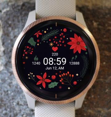 Garmin Watch Face - Christmas Frozen Flowers G
