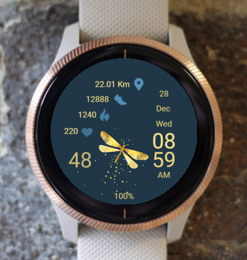Garmin Watch Face - Gold Dragonfly