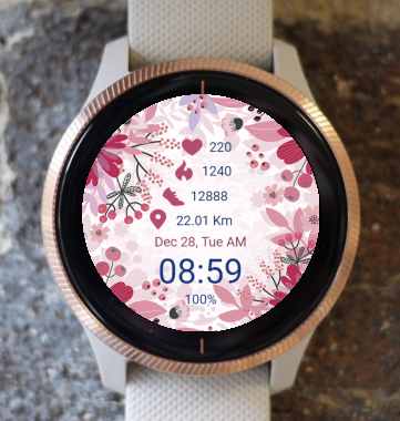 Garmin Watch Face - Red Flowers