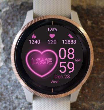 Garmin Watch Face - Neon Love