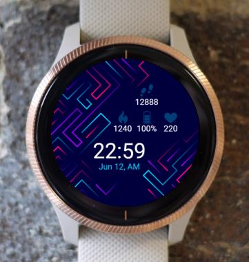 Garmin Watch Face - Neon Lines G