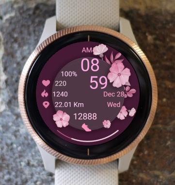 Garmin Watch Face - Pink Flowers 05