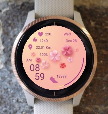 Garmin Watch Face - Pink Flowers 01