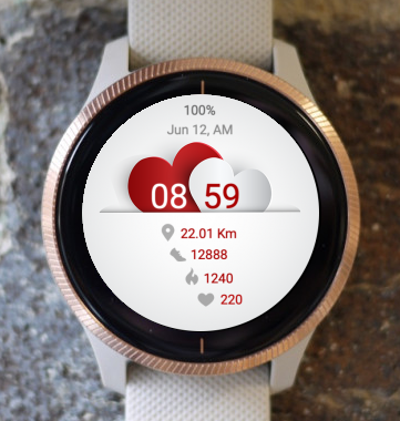 Garmin Watch Face - Red and White