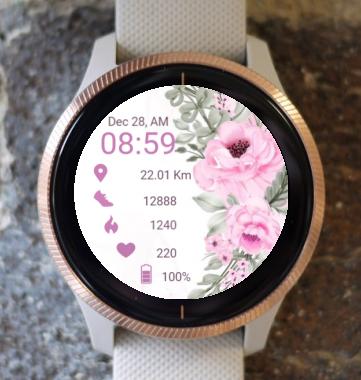Garmin Watch Face - Spring Pink Rose