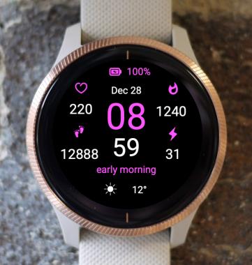 Garmin Watch Face - Pink Time