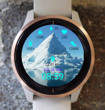 Garmin Watch Face - Snowy  Ice Rock
