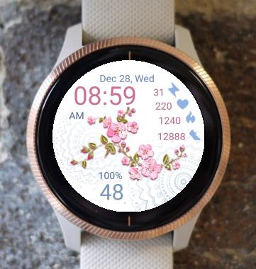 Garmin Watch Face - Pink Flowers 07